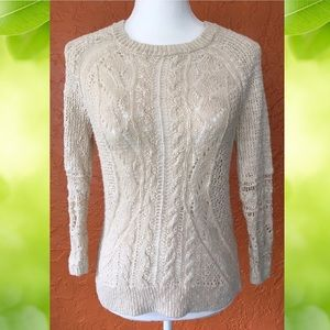 Lucky Brand Cream Cable Knit Crochet Sweater